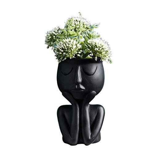 WUHUAROU Pflanzgefäße mit menschlichem Gesicht Sukkulenten Töpfe Blumentopf Übertopf Kreative Kunst Porträt Skulptur Vase für Kakteen Moos Zimmerpflanzen