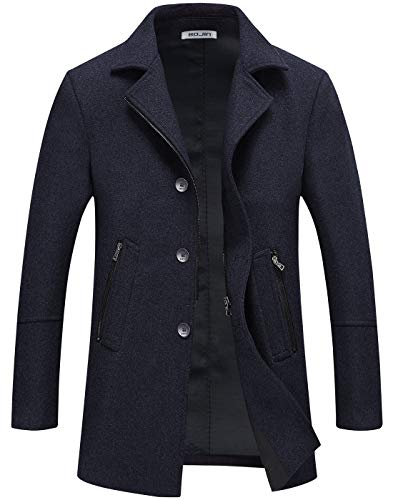 Mens Pea Coat Winter Trench Wool Coat Short Silm Fit Zipper Pockets Single Breasted (1964) - Navy Blue XL