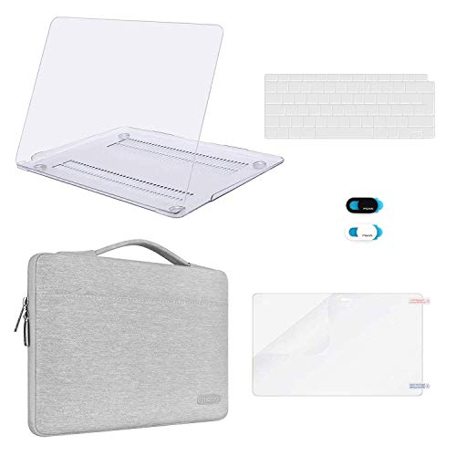 MOSISO MacBook Air 13 inch Case 2020 2019 2018 Release A2337 M1 A2179 A1932,Plastic Hard Case&Bag&Keyboard Skin&Webcam Cover&Screen Protector Compatible with MacBook Air 13 inch Retina, Clear&Gray