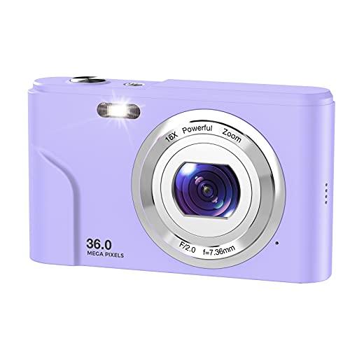 デジカメ WINAKETH デジタルカメラ 3600万画素 1080P録画 8MP CMOSセンサー搭載 手ぶれ補正 光学16倍ズーム 多機能 顔検出 3連写 2.44インチIPS液晶パネル 紫色