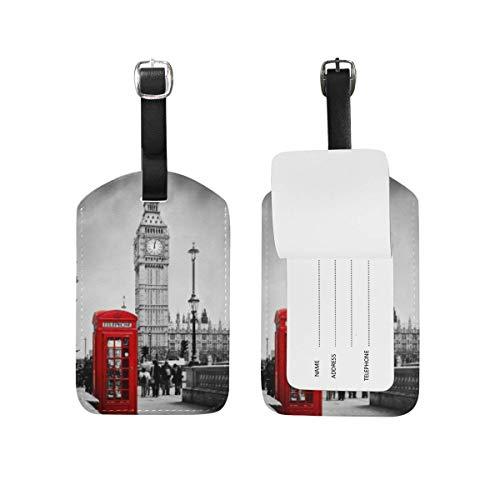 Etiquetas de equipaje Bolsa de identificación de viaje Maleta Mochilas de lona Etiquetas de bolso Red Telephone Booth Big Ben