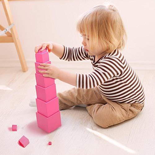 Für Montessori Rosa Turm Mathematik Spielzeug Sensorisches Training Bausteine Holz Früherziehung Spielzeug