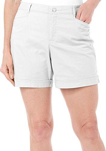 Gloria Vanderbilt Womens Gabrielle Mid Rise Causal Comfort Walking Shorts (12, Prism White)