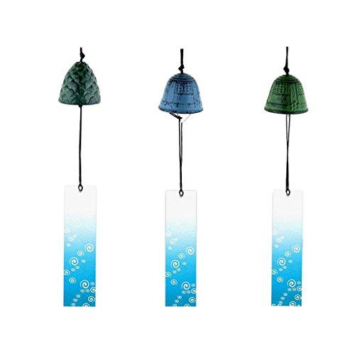B Blesiya 3pcs Japanisches Furin Windspiel Tempelglocke für Zuhause, Küche, Garten, Fenster
