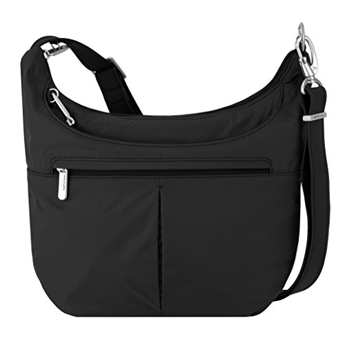 Locking main compartment has organizer with RFID blocking card and passport slots, wall pocket and full length zip pocket, and tethered key clip with LED light Slash-resistant construction and adjustable, slash-resistant shoulder strap attaches to po...