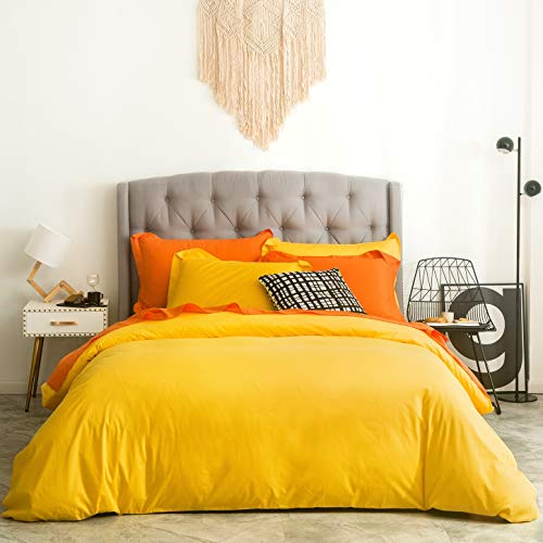 SUSYBAO 2 Pieces Duvet Cover Set 100% Natural Cotton Twin/Single Size 1 Duvet Cover 1 Pillow Sham Bright Yellow Luxury Quality Soft Breathable Comfortable Fade Resistant Solid Bedding with Zipper Ties
