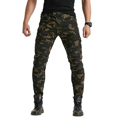 Atack-B Herren-Motorrad-Reithosen Jeans, Motocross Hose, entfernbarer Schutzmatte, Anti-gefallen Motorradhose Tarnung Jeans (M)