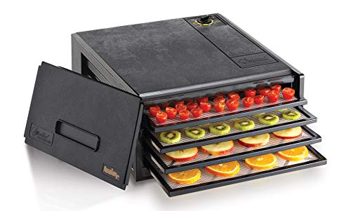 Excalibur 2400 Electric Food Dehydrator with Adjustable Thermostat Accurate Temperature Control Faster & Efficient Drying, 4-Tray, Black