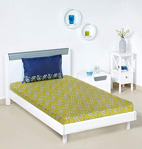 Solimo Ditsy Dale 144 TC 100% Cotton Single Bedsheet with 1 Pillow Cover, Yellow