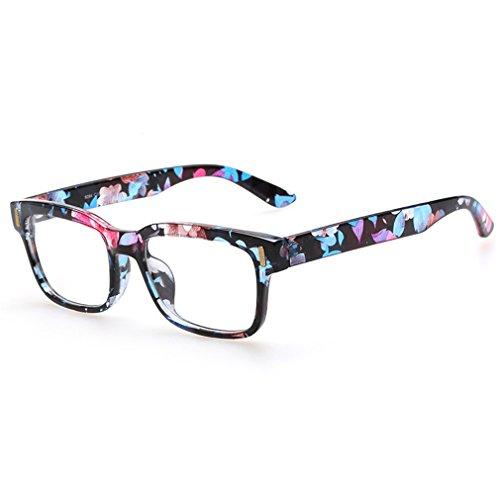 Rnow - Gafas Premium unisex estilo retro, moda en óptica, con montura cuadrada , mujer, floral