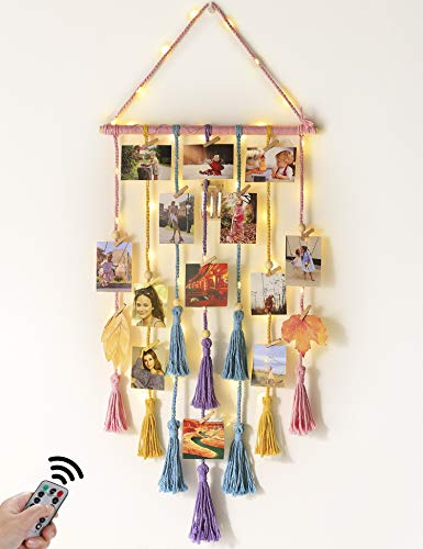Hanging Photo Display Wall Decor - Macrame Wall Decor Hanging with Remote String Light Boho Home Decor for Apatment Bedroom Living Room Gallery, with 30 Wood Clips for Photo Collage Frame