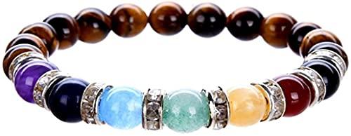 Pulsera china Pulsera hecha a mano Feng Shui Natural 7 chakra piedras preciosas de piedras preciosas perlas de cristal pulsera yoga meditación reiki pulsera para mujeres Elasticidad robusta duradera a