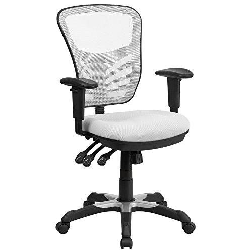 Flash Furniture Sedia da Ufficio Girevole, Multifunzione, con Schienale a Mezza Altezza, in Mesh, Ergonomica, con Braccioli Regolabili, Colore Bianco