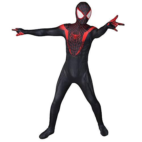 Disfraz de Spiderman Negro Ps5 Miles Morales Disfraz de Cosplay Juego Anime Fans Mono Lycra Spandex Onesies Adultos nios Traje-Adult M