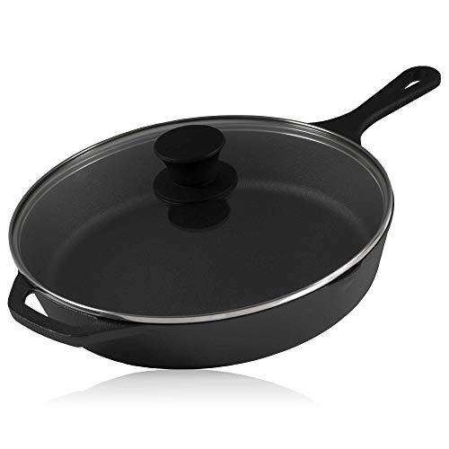 BBQ-Toro griglia in ghisa con Coperchio in Vetro | Padella in ghisa, Padella per friggere alla griglia, Padella per friggere con Coperchio, Padella per Bistecca (Ø 26 cm)