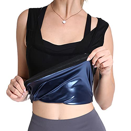 Sweat Shaper For Women Waist Trainer Women's Premium Workout Tank Top Slimming Polymer Sweating Vest Abdomen Yoga Clothes For Body Sculpting (L/XL)