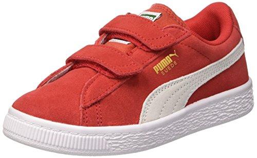 Puma Unisex-Kinder Suede 2 straps PS Sneaker, High Risk Red White, 34 EU