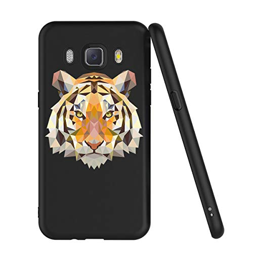 Zhuofan Plus Cover Samsung Galaxy J5 2016, Custodia Silicone Nero Soft TPU Gel con Design Print Pattern AntiGraffio Antiurto Protactive Cover per Samsung Galaxy J5 2016, Tigre