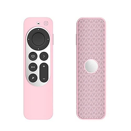 FTRONGRT Funda para Apple TV 4K 2021, Ultrafino y Ligero, Anti-Caída, Anti Choques, Funda Protectora de Silicona Suave Adecuada para el Mando a Distancia Apple TV 4K 2021.Rosa