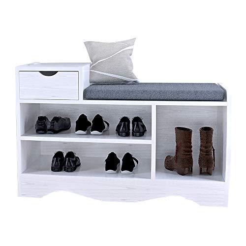 Cassapanca per scarpe con cuscino Scarpiera con cassetto Scarpiera da Ingresso Scaffale con Sedile Organizzatore e Cuscino con Seduta per Ingresso, 80 x 30 x 52 CM