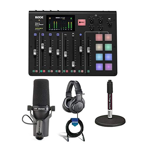 Rode Microphones RODECaster Pro Integrated PodcastProduction Console - Bundle with Shure SM7B Cardioid Dynamic Vocal Mic, On-Stage DS7200B Mic Stand, ATH-M20x Pro Monitor Headphones, 20' XLR Mic Cable