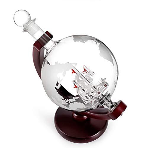 Hemoton 850Ml Wein Dekanter Erde Globus Geformte Weinbelüfter Glas Rotwein Gießen Karaffe Spirituosen Wodka Tequila Gießen Glasbehälter Geschenkzubehör