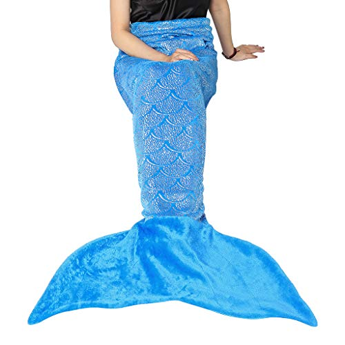 LANGRIA Mermaid Tail Blanket for Adults and Children Soft Warm All Season Snuggle Sleeping Life-Like Little Mermaid Glittering Flannel Throw Blanket for Bed Sofa Couch (60 x 25 inches, Blue)