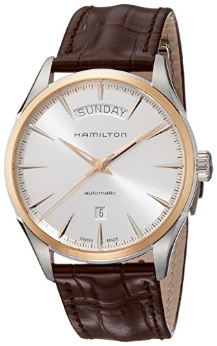 HAMILTON MEN'S JAZZMASTER DAY DATE 42MM LEATHER BAND AUTOMATIC WATCH H42525551