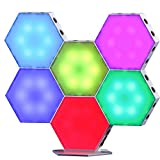 TACAHE Touch Sensitive Hexagon Wall Light - RGB Color Changing LED Light Panel - DIY Geometric Modular with USB Port, Suitable for Gaming Desk, Table Mood Lighting 3.62' - 6 Pack
