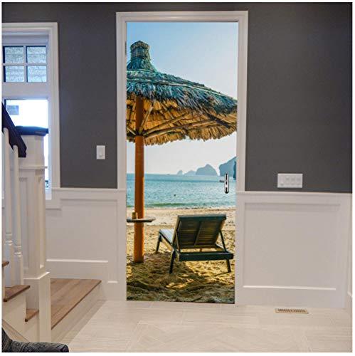 3D creatieve strand vakantie deck stoel gras paviljoen deur sticker huisdecoratie woonkamer slaapkamer meisje kamer winkel waterdicht doe-het-zelf verwijderbare PVC 90x200cm