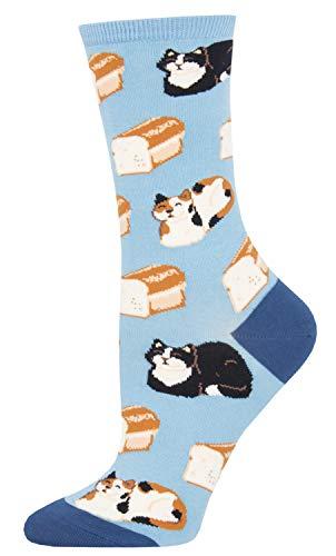 Socksmith Cat Loaf Blue 9-11 (Women's Shoe Sizes 5-10.5)