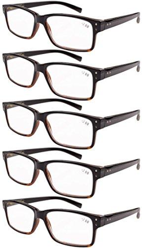 Eyekepper Mannen Vintage Lezen Brillen - 5 Stuks Leesbrillen voor Heren Dames - Zwart Geel Lijst Zonder Sterkte