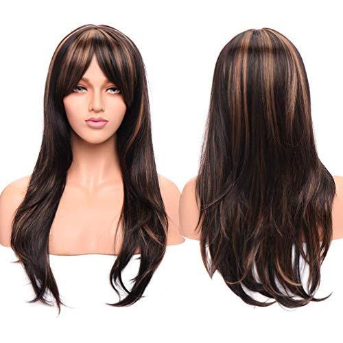 Peruca feminina de cabelo de cabeça inteira, 66 cm, castanho, peruca completa, natural, 38 cm, gengibre avermelhado, franja reta para festa diária