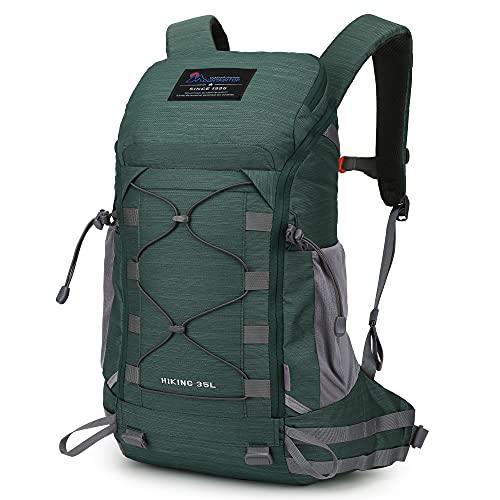 MOUNTAINTOP Mochila Trekking 35 Litros Hombre Mujer Mochila de Senderismo Mochilas de Montaña para Viaje Acampadas Impermeable con Cubierta de Lluvia (Hilo Floral-Verde)