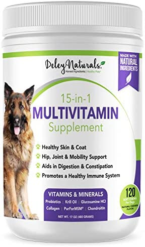 Deley Naturals 15 in 1 Dog Multivitamin Treats Immune System Skin Coat Joint Support Digestion product image