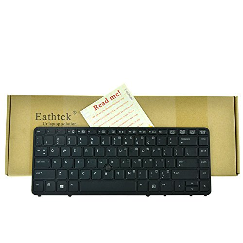 Eathtek Replacement Keyboard with Backlit and Pointer for HP EliteBook 840 G1 G2 850 G1 G2 HP ZBook 14 Mobile Workstation series Black US Layout, Compatible with part number 736654-001 9Z.N9JBV.201