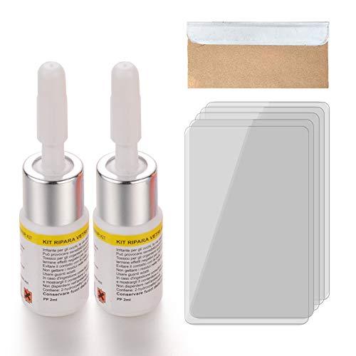 RONSHIN Automotive Glas Reparatie Gereedschap Voorruit Crack Reparatie Driedelige Set Glas Reparatie Vloeistof Set Auto Accessoires as shown 2 witte flessen vloeistof + messen +5 uitgeharde films