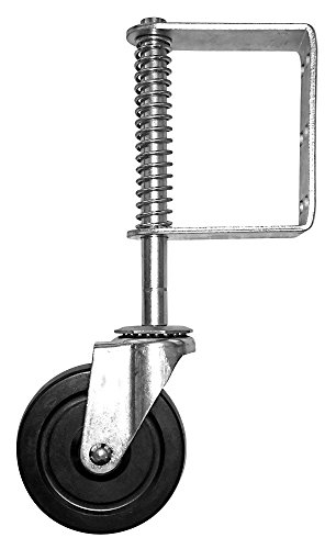 Shepherd Hardware 8735 Hard Rubber Spring-Loaded Gate Caster with Universal Mount, 5-Inch Wheel, 220-lb Capacity, Black