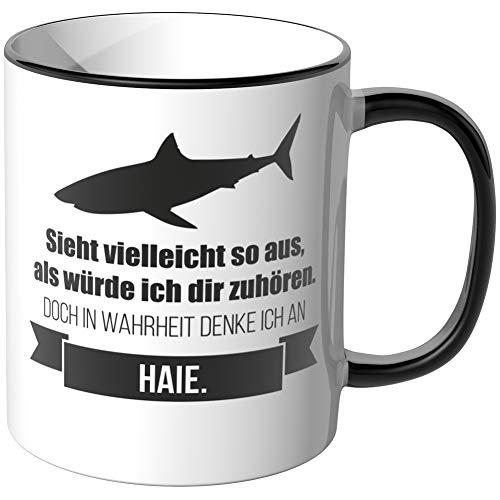 JUNIWORDS Tasse - Ich denke an Haie - Wähle Motiv & Farbe - Schwarz