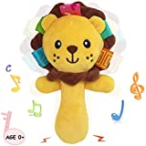 Soft Baby Rattle Toys for 0 3 6 9 Month Plush Lion Stuffed Animal Hand Rattles Squeaker Sticks for Toddlers Girls Boys