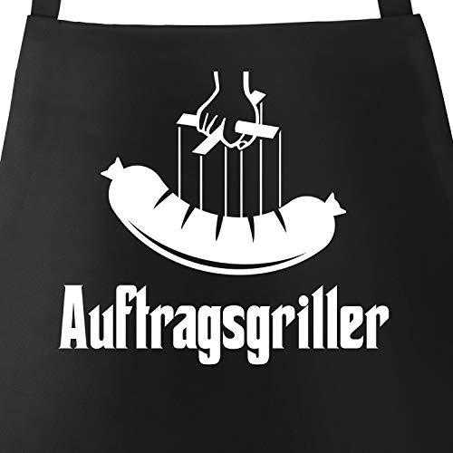 MoonWorks® Grill-Schürze für Männer mit Spruch Auftragsgriller Wurst Bratwurst Grillfather Baumwoll-Schürze Küchenschürze schwarz Unisize
