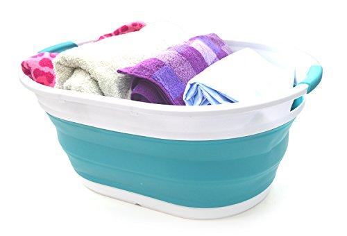 SAMMART Cesta lavandería Plegable Azul Brillante