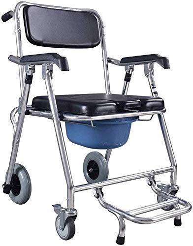 YUQIYU Silla Silla WC ducha baño Silla plegable móvil higiénico heces de ancianos discapacitados reforzado antideslizante silla de baño