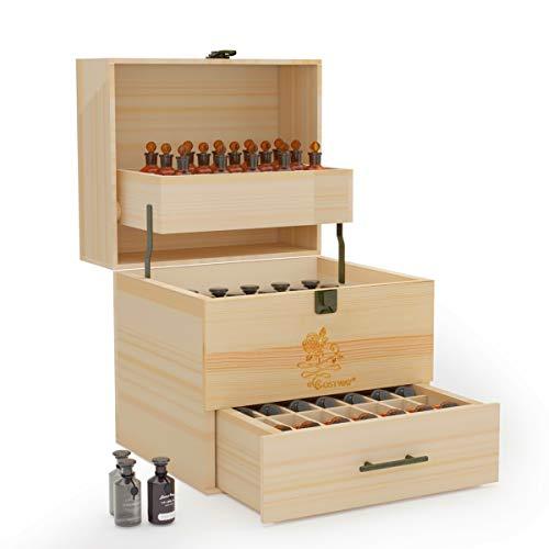 DREAMADE Ätherische Öl Box mit 59 Löchern, Aufbewahrungsbox Holz, Ätherisches Öl Organizer mit Schublade, Tragbarer Display Ständer für Nagellack Duftöle Ätherisches Öl Lippenstift