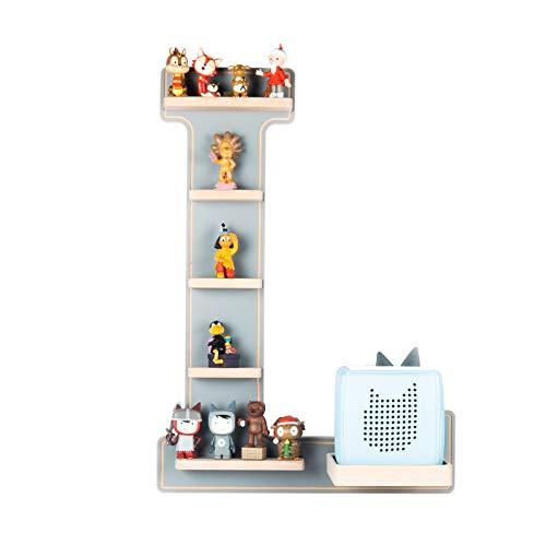 BOARTI Kinder Regal Buchstabe L in Grau - geeignet für die Toniebox und ca. 25 Tonies - zum Spielen und Sammeln