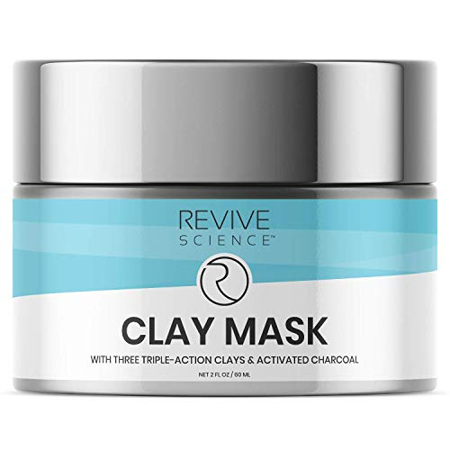 Revive Science Clay Facial Mask - Clay Mask for Face with Activated Charcoal, Lecithin and Kaolin - Remove Blackheads, Cleanse Pores, Reduce Wrinkles 2 FL OZ