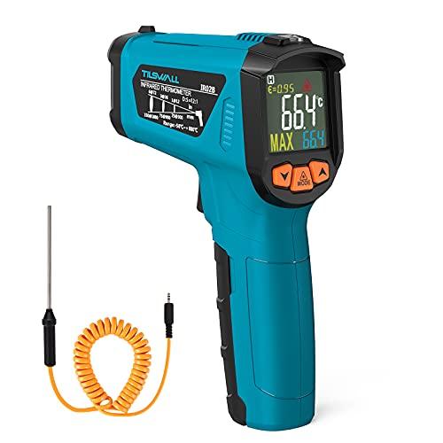 Infrarot Thermometer(nicht für Menschen)Tilswall Grill IR Laser Digital Thermometer mit Grillthermometer-50°C bis 800°C mit LCD Display, Alarm für hohe/niedrige Temperatur, für Kochen/Barbecue