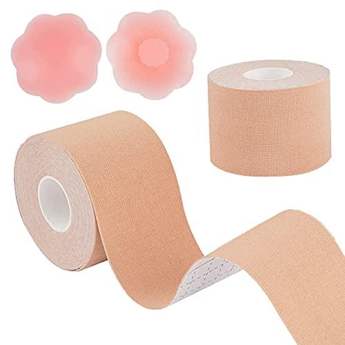 Cinta de levantamiento de senos con cubiertas de silicona reutilizables para pezones,...