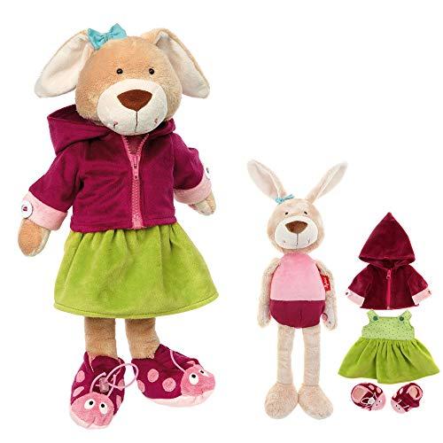 Sigikid meisjes en jongens, leren knuffeldier Leerhaas 45 x 12 x 12 cm Rosa-rot, Beige, Apfelgrün
