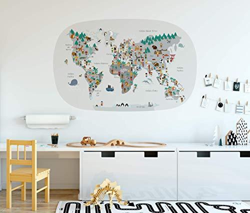 Menudos Cuadros Vinilo Infantil mapamundi Cultural Ovalado Gris (Grande 115cmx70cm)